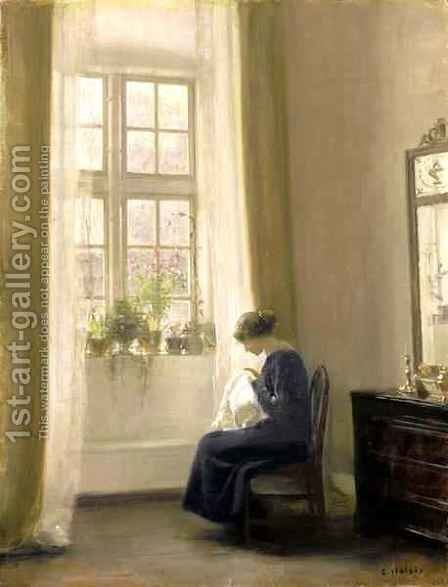 A Girl Sewing in an Interior by Carl Vilhelm Holsoe - Reproduction Oil Painting