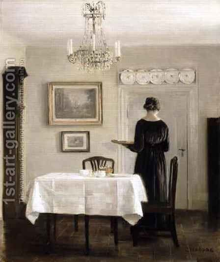 Interior with Lady Carrying Tray by Carl Vilhelm Holsoe - Reproduction Oil Painting