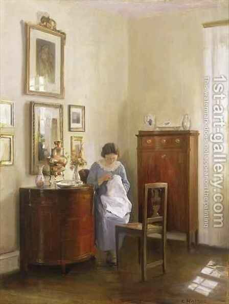 Interior with Lady Sewing by Carl Vilhelm Holsoe - Reproduction Oil Painting