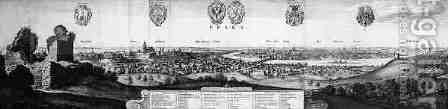 View of Prague by (after) Hollar, Wenceslaus - Reproduction Oil Painting