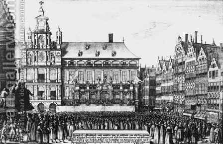 Proclamation of the peace of Westphalia in 1648 by (after) Hollar, Wenceslaus - Reproduction Oil Painting