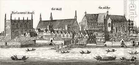 Westminster in 1647 by (after) Hollar, Wenceslaus - Reproduction Oil Painting