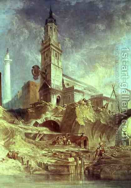 Demolishing Old London Bridge with St Magnus the Martyr behind by James Holland - Reproduction Oil Painting