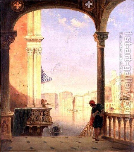 A Venetian Terrace by James Holland - Reproduction Oil Painting