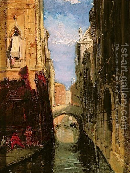 A Side Canal Venice by James Holland - Reproduction Oil Painting