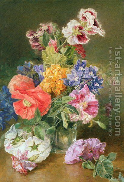 Roses Poppy and Pelargonia by James Holland - Reproduction Oil Painting