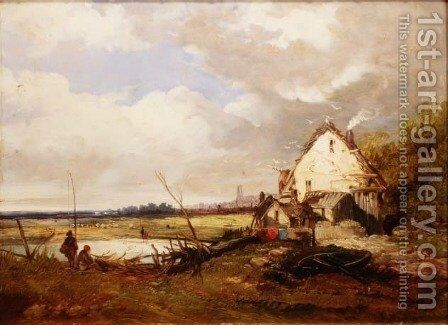 Anglers by a Cottage on a River Bank by James Holland - Reproduction Oil Painting