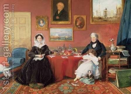 The Langford Family in their Drawing Room by James Holland - Reproduction Oil Painting
