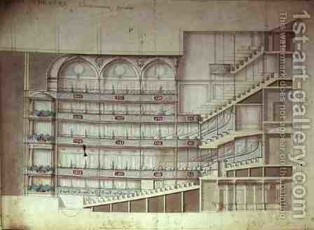 Drury Lane Theatre sectional drawing of the interior by Henry Holland - Reproduction Oil Painting