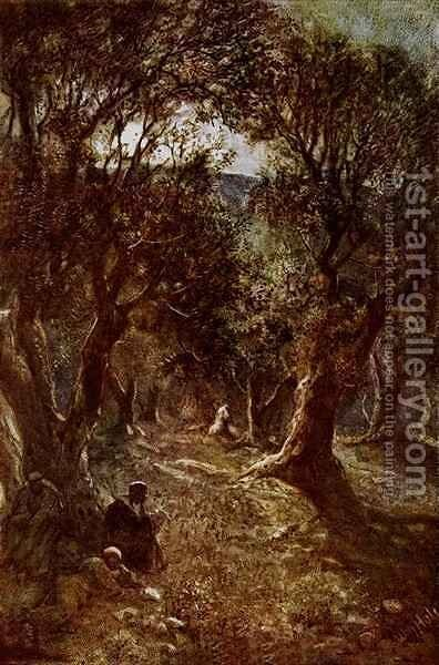 Jesus Praying In The Garden Of Gethsemane Painting By William
