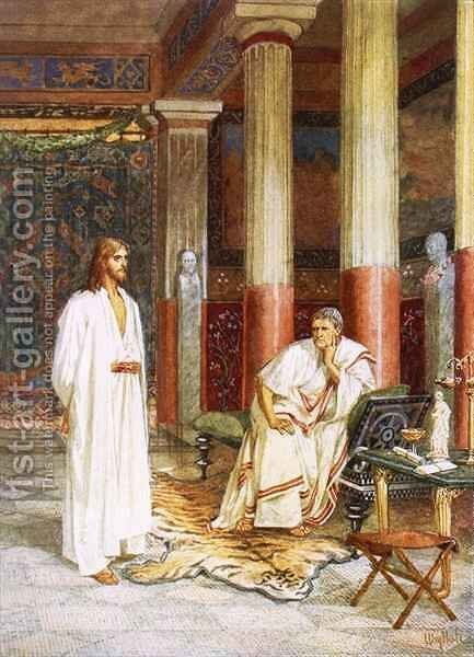 Jesus being interviewed privately by Pontius Pilate Painting by ...