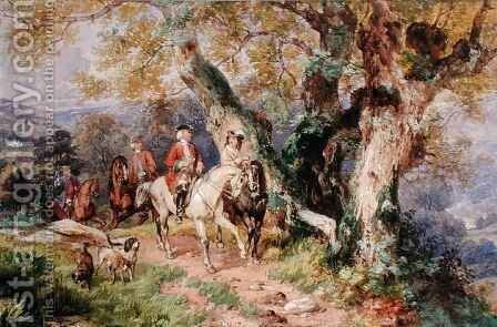 18th Century Figures in a Landscape by Henry James G. Holding - Reproduction Oil Painting