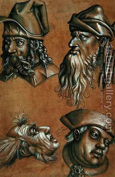 Studies of Four Heads for a Passion Series by Sigmund Holbein - Reproduction Oil Painting