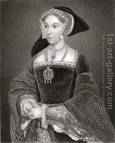 Portrait of Jane Seymour c 1509-37 from Lodges British Portraits by (after) Holbein the Younger, Hans - Reproduction Oil Painting