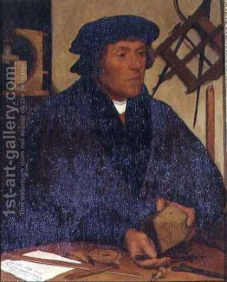 Portrait of Nicholas Kratzer 1487-c 1550 Fellow of Corpus Christi College and later Astronomer Royal to King Henry VIII by (after) Holbein the Younger, Hans - Reproduction Oil Painting