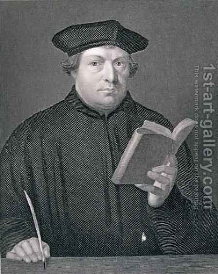 Martin Luther 1483-1546 by (after) Holbein the Younger, Hans - Reproduction Oil Painting