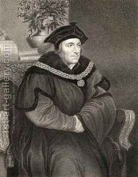 Sir Thomas More 1477-1535 by (after) Holbein the Younger, Hans - Reproduction Oil Painting