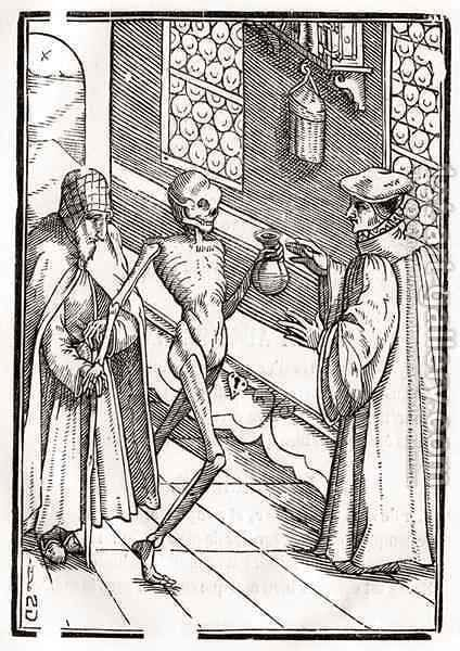 Death comes to the Doctor by (after) Holbein the Younger, Hans - Reproduction Oil Painting