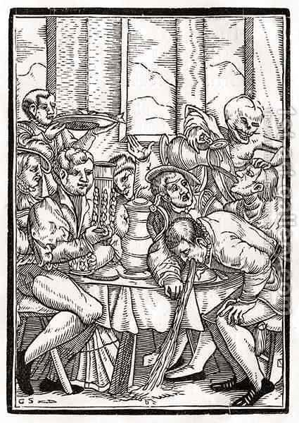 Death comes for the Drunkard by (after) Holbein the Younger, Hans - Reproduction Oil Painting