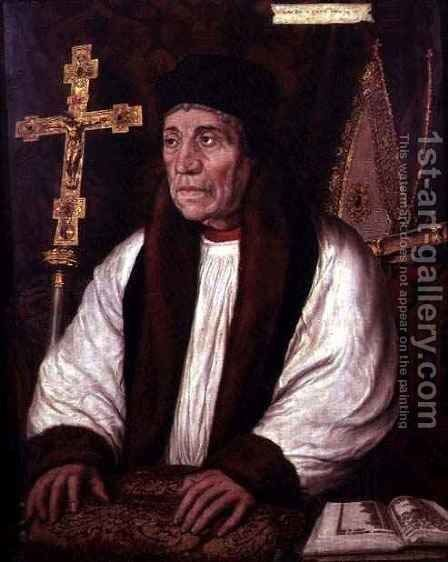 William Warham c 1450-1532 Archbishop of Canterbury by (after) Holbein the Younger, Hans - Reproduction Oil Painting