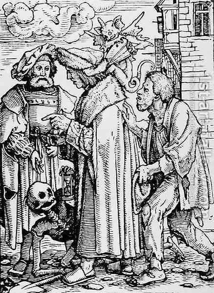 Death and the Councillor by (after) Holbein the Younger, Hans - Reproduction Oil Painting