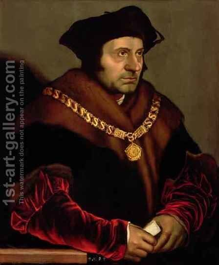 Portrait of Sir Thomas More 1478-1535 3 by (after) Holbein the Younger, Hans - Reproduction Oil Painting