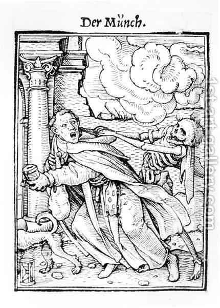 Death and the Mendicant Friar by (after) Holbein the Younger, Hans - Reproduction Oil Painting