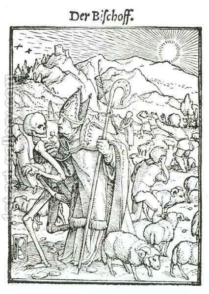 Death and the Bishop from The Dance of Death by (after) Holbein the Younger, Hans - Reproduction Oil Painting