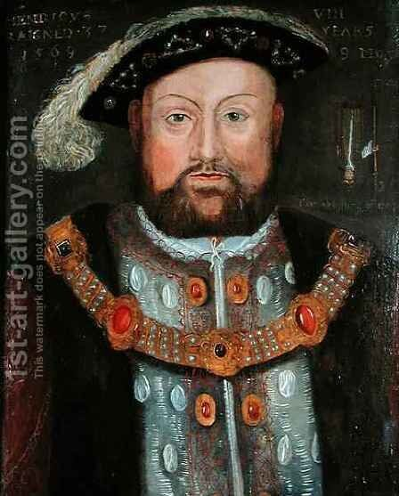 Henry VIII 1491-1547 2 by (after) Holbein the Younger, Hans - Reproduction Oil Painting