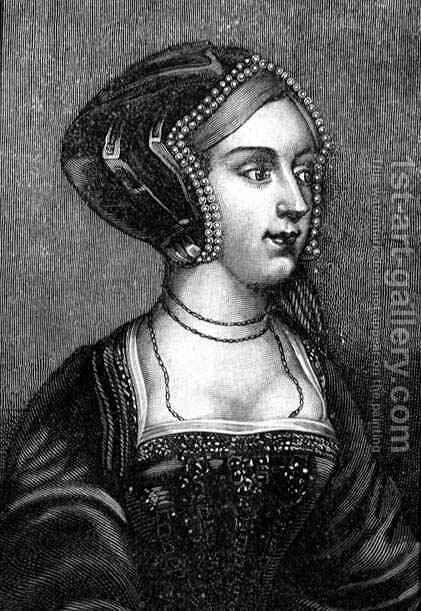 Anne Boleyn c 1507-36 Second Wife of Henry VIII of England by (after) Holbein the Younger, Hans - Reproduction Oil Painting