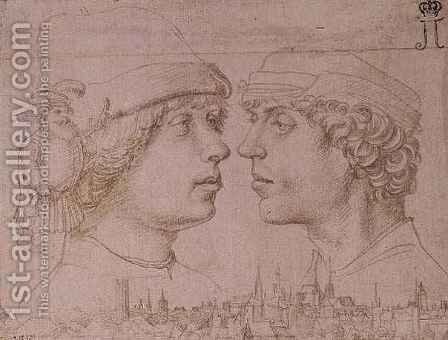 Portraits of Two Youths a Dwarf and a Townscape by (after) Holbein the Younger, Hans - Reproduction Oil Painting