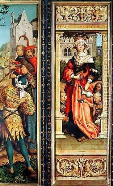 St Elizabeth of Hungary 1207-31 right hand panel from the Triptych of St Sebastian by Hans, The Elder Holbein - Reproduction Oil Painting