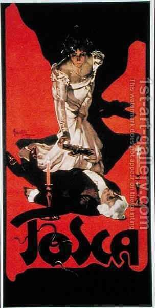 Poster advertising a performance of Tosca by Adolf Hohenstein - Reproduction Oil Painting