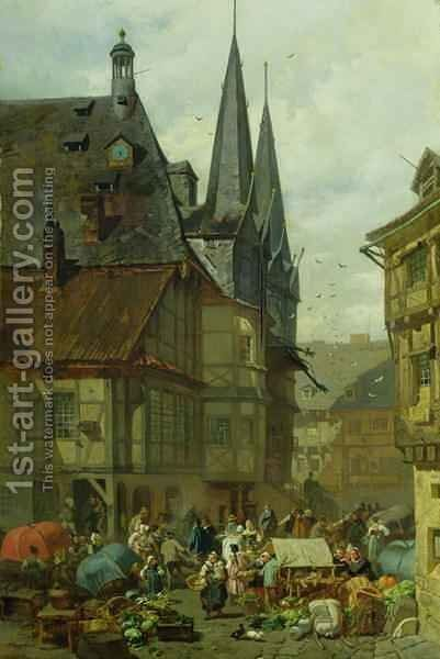 The Marketplace in Wernigerode by Charles Hoguet - Reproduction Oil Painting