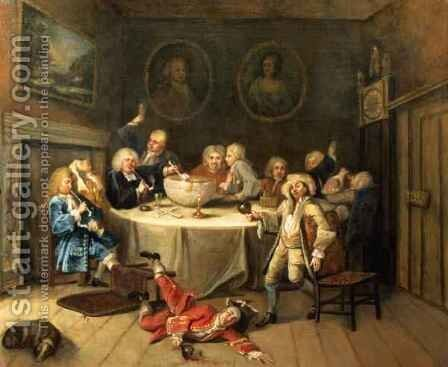 Modern Midnight Conversation by (attr. to) Hogarth, William - Reproduction Oil Painting