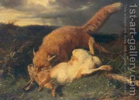 Fox and Hare by Johann Baptist Hofner - Reproduction Oil Painting