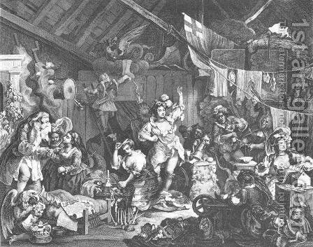 Strolling Actresses Dressing in a Barn by William Hogarth - Reproduction Oil Painting