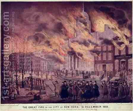 The Great Fire of New York by Alfred M. Hoffy - Reproduction Oil Painting