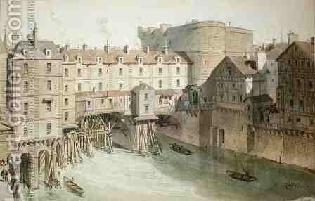 View of Petit Chatelet and the Petit Pont in 1717 by (after) Hoffbauer, Theodor Josef Hubert - Reproduction Oil Painting