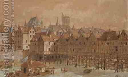 The Grand Chatelet and the Pont aux Meuniers by Theodor Josef Hubert Hoffbauer - Reproduction Oil Painting
