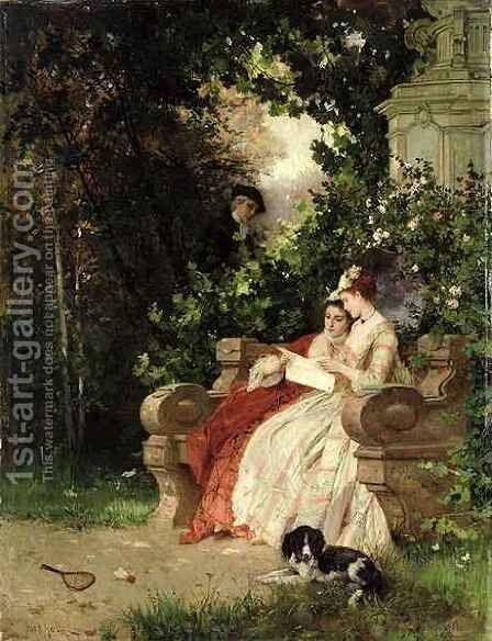 The Eavesdropper by Carl Heinrich Hoff - Reproduction Oil Painting