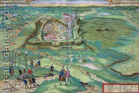 Map of Papa from Civitates Orbis Terrarum by (after) Hoefnagel, Joris - Reproduction Oil Painting