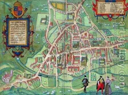 Map of Cambridge from Civitates Orbis Terrarum by (after) Hoefnagel, Joris - Reproduction Oil Painting