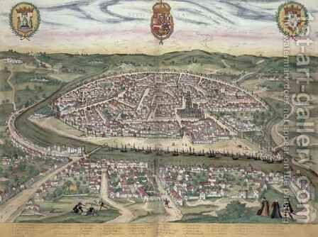 Map of Seville from Civitates Orbis Terrarum by (after) Hoefnagel, Joris - Reproduction Oil Painting