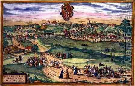 Town Plan of Grodno from Civitates Orbis Terrarum by (after) Hoefnagel, Joris - Reproduction Oil Painting