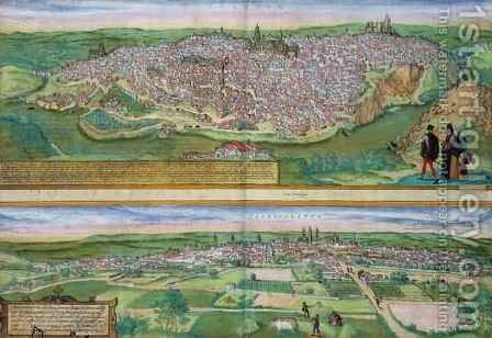 Map of Toledo and Valladolid from Civitates Orbis Terrarum by (after) Hoefnagel, Joris - Reproduction Oil Painting