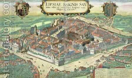 Map of Leipzig from Civitates Orbis Terrarum by (after) Hoefnagel, Joris - Reproduction Oil Painting