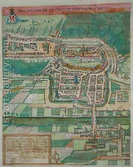 Map of Bar from Civitates Orbis Terrarum by (after) Hoefnagel, Joris - Reproduction Oil Painting