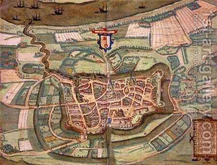 Map of Stade from Civitates Orbis Terrarum by (after) Hoefnagel, Joris - Reproduction Oil Painting
