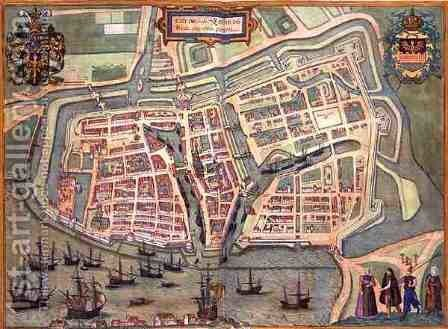 Map of Embden from Civitates Orbis Terrarum by (after) Hoefnagel, Joris - Reproduction Oil Painting